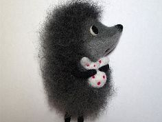 """Needle felted hedgehog main character from the beautiful russian animaion """"Hedgehog in the fog"""". So beautiful."""