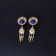 Plugs d'oreilles en bois, laiton brut et lapis lazuli #golden #brass #jewelry #gothic #mourning #victorian #steampunk #plug #20mm #18mm #russian #amethyst #gauge #piercing #goth #dangle #lapislazuli #blue