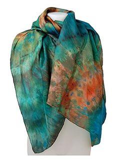Ladies hand-dyed shibori tie-dye handmade luxury designer large silk scarf sarong Laguna Beach in turquoise blue orange colours made in London UK