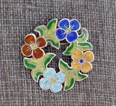 Mexico-925-Sterling-Silver-Brooch-Multi-Color-Enamel-Violets-Floral-Arrangement