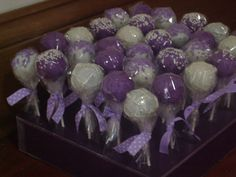 Purple and White Cake pops- for Relay for Life bake sale