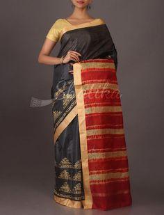 Pradeepthi Temple Design Printed #SilkSaree in Black