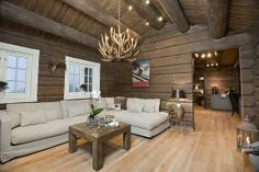 Stue Cabin Homes, Log Homes, Living Room Decor, Living Spaces, Modern Lake House, Montana Homes, Interior Architecture, Interior Design, Dere