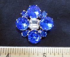 Macnificent Vintage Style Czech Rhinestone Glass Button Crystal Royal Blue | eBay