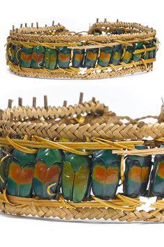 Papua New Guinea ~ Mount Hagen | Headband probably from Wahgi area | Flower beetle exoskeleton, orchid stem | Est. 600 - 800$ ~ (Feb '14)