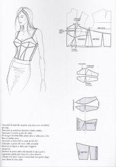 bustier top pattern - Under Wear Corset Sewing Pattern, Bra Pattern, Pattern Drafting, Dress Sewing Patterns, Clothing Patterns, Bustier Top, Fashion Sewing, Diy Fashion, Sewing Clothes