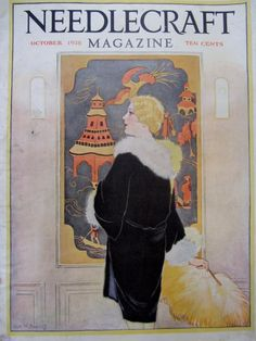 Vintage October 1928 Needlecraft Magazine Cover by RelicEclectic, $8.00