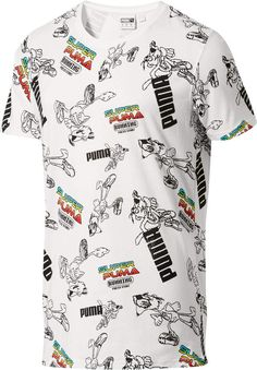 SUPER PUMA All Over Graphic T-Shirt #SUPER#PUMA#arcade Cool T Shirts, Tee Shirts, Shirt Men, Tees, Leather Apron, Puma Mens, Mens Sweatshirts, Shirt Designs, Men Casual