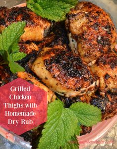 Grilled Chicken Thighs with Homemade Dry Rub is prize worthy and a favorite! Cooked on grill mats to make it easier too.  These thighs are infused with flavor and the rub is homemade with ingredients you have in your pantry.