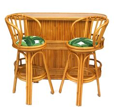 Bamboo Tiki Bar Set - Bar & Pair Of Barstools