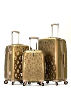 Olympia Hancock 3-Piece Hardcase Luggage Set In Gold - Beyond the Rack