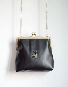 Vintage Style Black Pu Fawn Handmade Bag Metal Frame Purse Coin Handbag Pouch Clutch Tote Kiss Lock