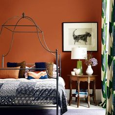 Discover bedroom design ideas on HOUSE - design, food and travel by House & Garden including earth-coloured walls, green touches and an oak bedside table