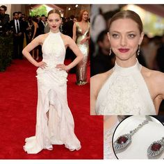 The beautiful Amanda Seyfried during the 2015 Met Gala shined radiantly in a Tiffany @tiffanyandco diamond and ruby drop earrings that complemented her custom Givenchy @givenchyofficial white gown with flower appliques.  #purplebyanki #diamonds #luxury #loveit #jewelry #jewelrygram #jewelrydesigner #love #jewelrydesign #finejewelry #luxurylifestyle #instagood #follow #instadaily #lovely #me #beautiful #loveofmylife #dubai #dubaifashion #dubailife #mydubai #earrings #celebritty…