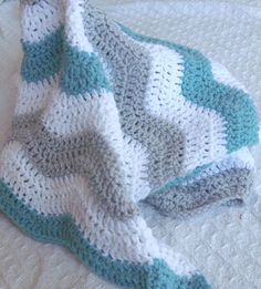 Aqua and Gray Baby Boy Chevron Blanket Crochet Blue by puddintoes, $55.00