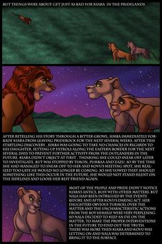 Kiara y kovu, parte 56 Lion King 4, Lion King Fan Art, King Art, Lion Story, Disney Pixar, Disney Characters, Fictional Characters, Le Roi Lion, Retelling
