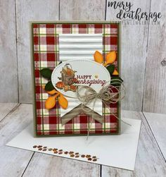 *How to make plaid background using the Buffalo Check background stamp* Pleasant Pheasants on Buffalo Plaid Thanksgiving Greeting Cards, Fall Cards, Holiday Cards, Card Sentiments, Cards For Friends, Halloween Cards, Scrapbook Cards, Scrapbooking, Greeting Cards Handmade