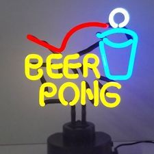 Neon sign Sculpture lamp Beer Pong Game  College Bar