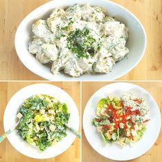 This recipe for Caesar Salad and Potato Salad makes a lovely light dinner option that's still filling and tasty! #thefatfoodie #caesarsalad #potatosalad