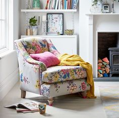 A bright contemporary sofa designed to bring the outdoors in. With reversible cushions featuring Joules' iconic Cambridge print. Floral Furniture, Floral Chair, Sofa Furniture, Floral Accent Chair, My Living Room, Living Room Chairs, Living Room Decor, Bedroom Decor, Floral Bedroom