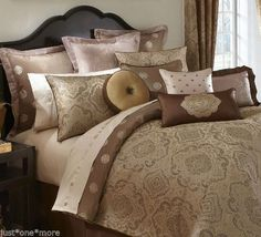 WATERFORD CALLUM KING DUVET COVER 6pc SET BROWN GOLD PAISLEY MEDALLION DAMASK  #Waterford #Traditional