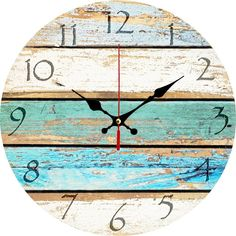 """Amazon.com: Grazing 12"""" Vintage Arabic Numerals ,Shabby Beach, Weathered Beachy Boards Design ,Ocean Colors Old Paint Boards Printed Image, Rustic Mediterranean Style Wooden Decorative Round Wall Clock (Sky): Home & Kitchen"""