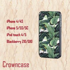 ipod 5 case,ipod 4 case,iphone 5s case,iphone 5c case,iphone 5 case,iphone 4 case,z10 case,q10 case--Banana Leaf,in plastic and silicone. by CrownCase88, $14.99