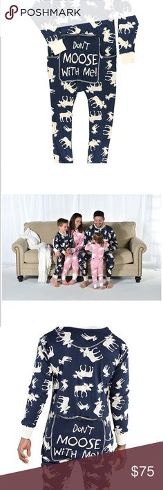 "👣""Don't Moose with Me"" Adult FlapJacks Sooo Adorable! Brand New with tags.   These are a MUST HAVE this winter.                COMFORTABLE PJ's - Stretchy, cotton long johns will keep you and yours toasty in a fun way!  FUN DROP SEAT - The drop seat has a three button flap w/ a cloth panel to prevent peek-a-boo slips Moose DESIGNS - Trap door has a profile of a Moose and the words ""Don't Moose with Me""  PERFECT FOR COLD NIGHTS - These long john style pj's are perfect for Any Man or Woman…"