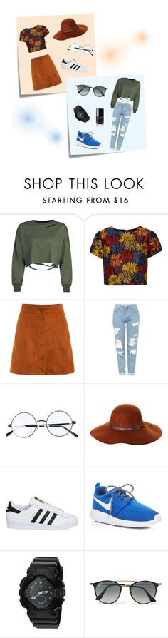 """""""Untitled #53"""" by brownbear12 ❤ liked on Polyvore featuring Post-It, WithChic, Alice + Olivia, Topshop, Fallenbrokenstreet, adidas, NIKE, G-Shock and Ray-Ban"""