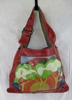 STAMP 10 shoulder bag satchel hobo purse sling ORANGE BIRD SUNSET Boho M