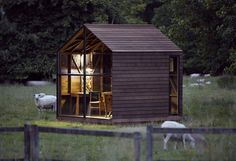 """Nathalie De Leval, Paul's Sfor the exhibition """"The Wish List"""" at the Victoria & Albert Museum, Paul's Shed is a wooden hut designed as a place for relaxation. The structure is made from dark-coloured, thermo-treated American ash that is resistant to rot Micro House, Tiny House, Wooden Hut, Shed Kits, Wood Shed, Small Buildings, Garden Office, Prefab, Exterior Design"""