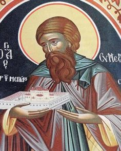 Saint Symeon (Simeon), one of the monks who found the Icon of the Most Holy Theotokos painted by St Luke in the Great Cave, in Peloponnesus, Greece.