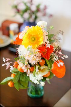 bright wedding bouquet - great for using in-season, bright summer flowers!