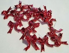 Red Bows Wire Tie Decorations Christmas Holiday Craft Supplies 18 pieces Lot