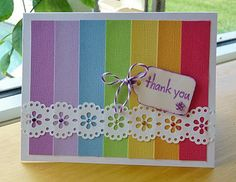 rainbow card - great use of scraps and for a card set. I know many teachers that would enjoy having these on hand!