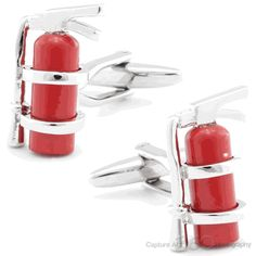Red Fire Extinguisher Cufflinks, Firefighter Cufflinks by Cufflinksman