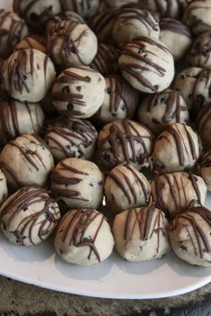Easy cookie dough balls. 5 ingredients, nobake, no egg. I made these this afternoon and they taste scrumptious! We don't buy brown sugar, so I combined white sugar with molasses, which is what I always do to substitute brown sugar in recipes. ~Anna S.