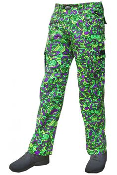 Cyber Pants : Lime Mayan Fully printed cotton cargo pants. Featuring: 2 front pockets, 2 back pockets, 2 side pockets plus a secret pocket ! Semi-elasticated waistband for a super comfy fit. Reflective logo badge on front waistband. Clip closing. Belt loops & plastic d-ring key dangler. UV Active ! Artwork by Adi