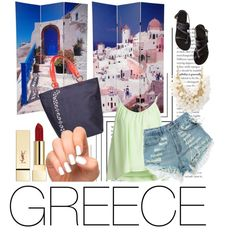 """""""Take me to greece"""" by busta on Polyvore Featuring the Urban Story tote from BÙSTA #busta #bustabags #leatherbag #leather #streetstyle #perforated #red #rose #embroidery #folklore #handmade #tote #leathertote #blue #mint #white #black #sandals #holiday"""