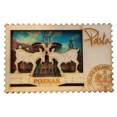 Wooden fridge magnet showing goats in Poznan. Magnet Drawing, Gadgets, Diy Magnets, Hama Beads, Travel Posters, Diy Gifts, Goats, 3d Printing, Vintage World Maps