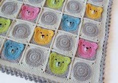 Teddy Bear Granny Square Blanket Pattern
