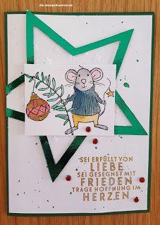"""Weihnachtskarte mit Produkten von Stampin Up (Stempelset """"Festtagsmäuse"""")"""