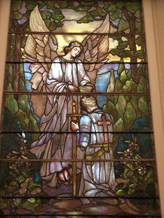 Description: Richmond, Virginia (VA): St Paul's Episcopal Church: The Young Crusader (installed 1928, Lamb Studios)