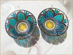 RichanaDragon ||| Set of hand painted stained glass bowls. Сan be used as dinnerware, as a bowl candle holder, or jewelry storage (holder).