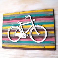 Wooden Bicycle Art Pallet Background Wall Decor Wooden Bike Sign Bicycle Art. $148.00, via Etsy.