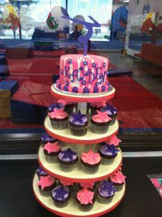 Gymnast Theme Cake and Cupcake Tower