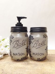 Silver Mason Jar Soap Dispenser& Storage Jar Set with Design