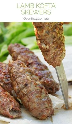 Lamb Kofta Skewers Recipe - something a little different, and a lot delicious, to throw onto your barbecue. These Greek-inspired skewers are sure to get your mouth watering. Lebanese Recipes, Turkish Recipes, Greek Recipes, Indian Food Recipes, Lebanese Cuisine, Skewer Recipes, Wine Recipes, Lamb Mince Recipes, Diced Lamb Recipes