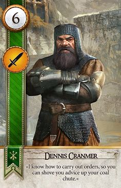 Dennis Cranmer (Gwent Card) - The Witcher 3 Fantasy Warrior, Fantasy Rpg, Fantasy Books, Medieval Fantasy, Fantasy Characters, Witcher Art, Witcher 3 Wild Hunt, The Witcher 3, Scoia Tael