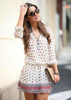 Chiffon short print dress,3/4 sleeve